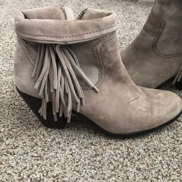 1b5d797e9 Sam Edelman Shoes - Sam Edelman Grey tan Louie Suede Fringe Ankle Boot